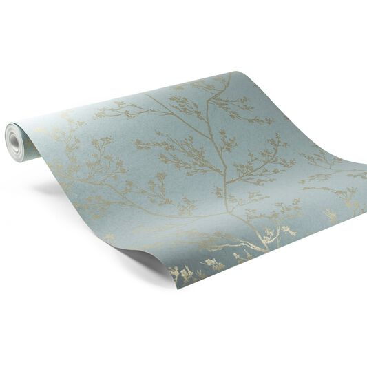 Springtime Aqua and Gold Wallpaper, , large