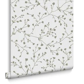 Silhouette White & Silver Wallpaper, , large
