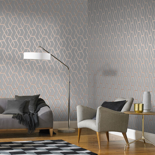 Archetype Gray and Rose Gold Wallpaper, , large