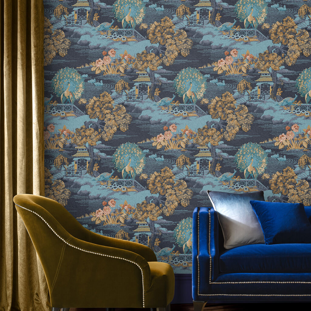 Edo Toile Navy Wallpaper, , large