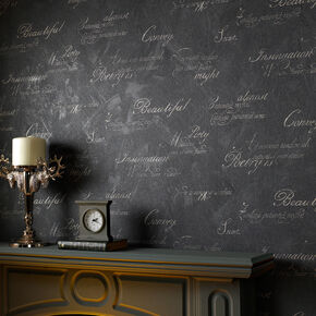 Concrete Script Charcoal Wallpaper, , large