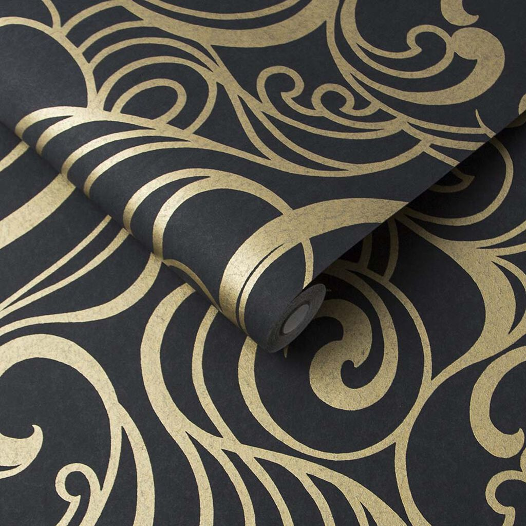 Hula Swirl Noir Wallpaper, , large