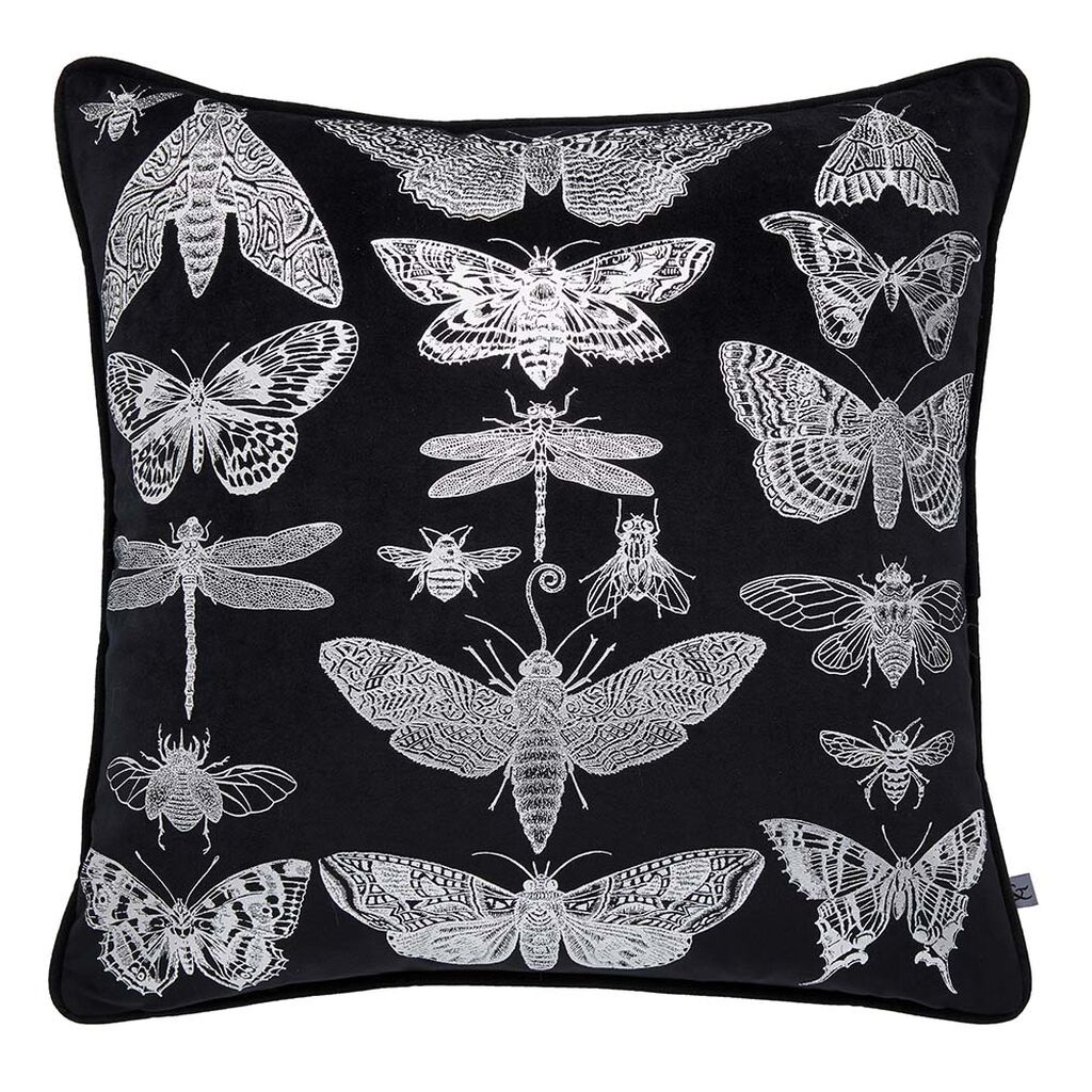Gothic Bugs Black & Silver Pillow, , large