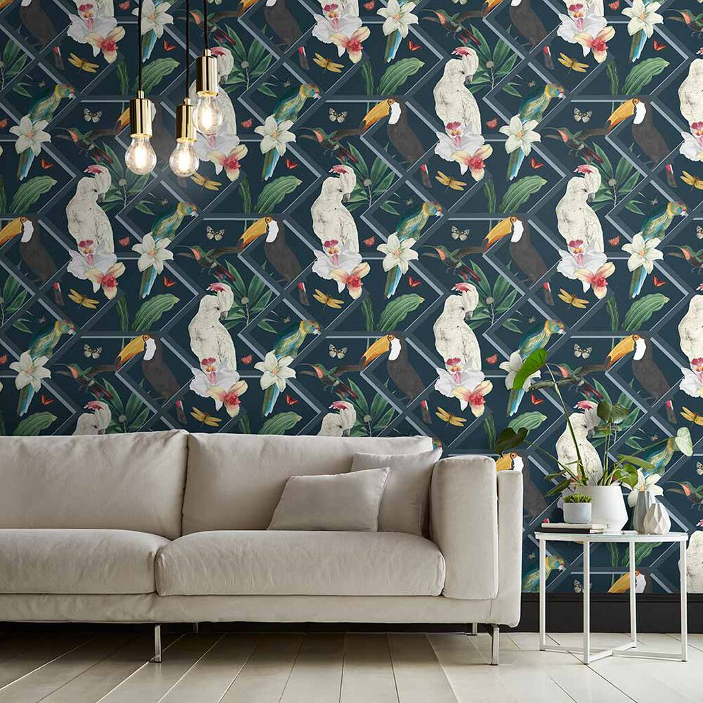 Perch Navy Wallpaper, , large