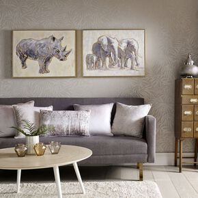 Metallic Elephant Family Handpainted Framed Canvas Wall Art , , large