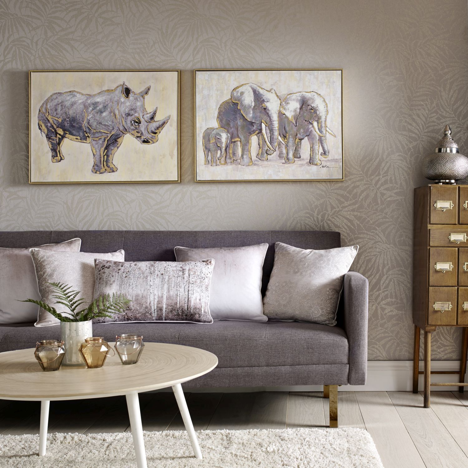 ... large Metallic Elephant Family Handpainted Framed Canvas Wall Art  ... : wall art hand painted - www.pureclipart.com