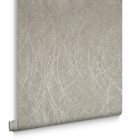 Twist Taupe & Silver Behang, , large