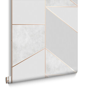 Color Block Geo Gray & Rose Gold Wallpaper, , large