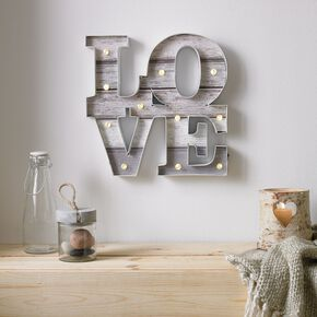 Lit Love Metal Wall Art , , large