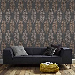 Lucia Black & Copper Wallpaper, , large