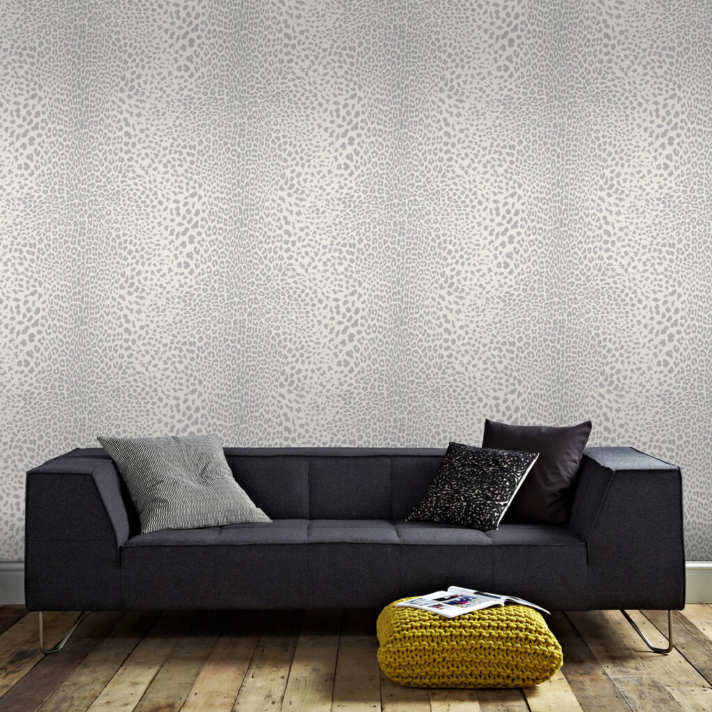 Leopard Print Wallpaper | White & Silver Wallpaper | Graham & Brown