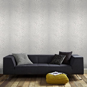 Leopard White and Silver Wallpaper , , large