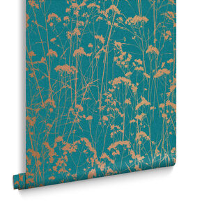 Grace Teal Wallpaper, , large