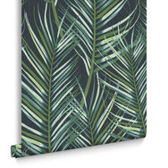 Palm Leaf Green Wallpaper, , large