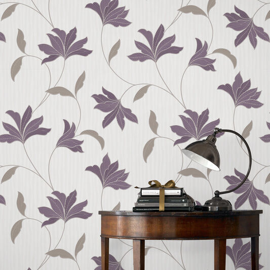 Alannah Plum and Silver Wallpaper, , large