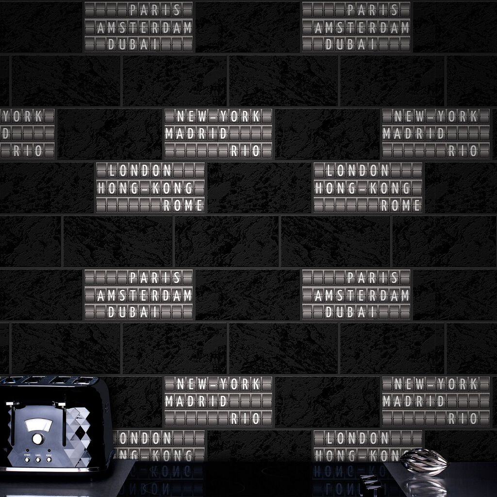 Airport Tile Black and White Wallpaper, , large