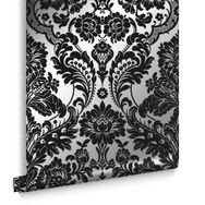 Gothic Damask Flock Black & Silver Behang, , large
