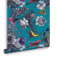 Jardin Teal Wallpaper, , large