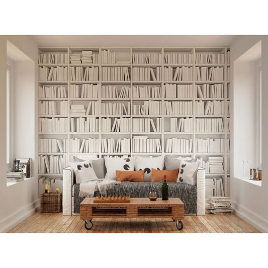Library White Wall Ready Made Mural, , large