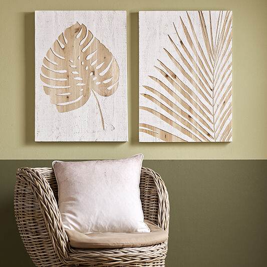 Tropical Leaf Impression On Wood Wall Art, , large
