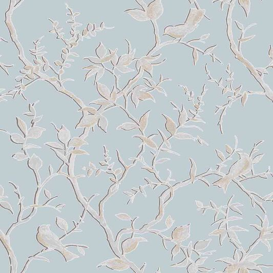 Laos Trail Duck Egg Wallpaper, , large
