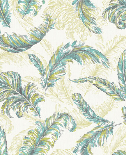 Gilded Feather Green And Teal Wallpaper