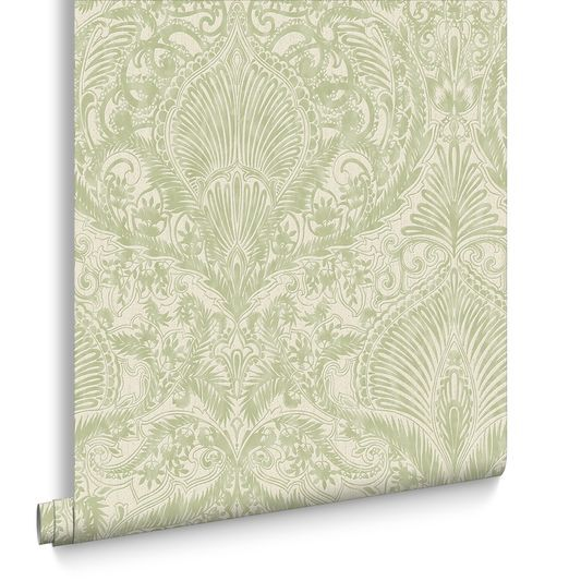 Burlesque Green And Cream Wallpaper Large