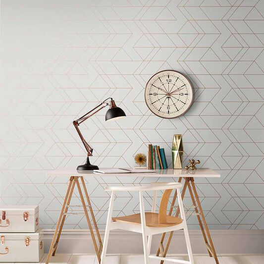 Balance White & Rose Gold Wallpaper, , large