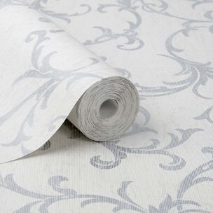 Empress Scroll Silver Wallpaper, , large