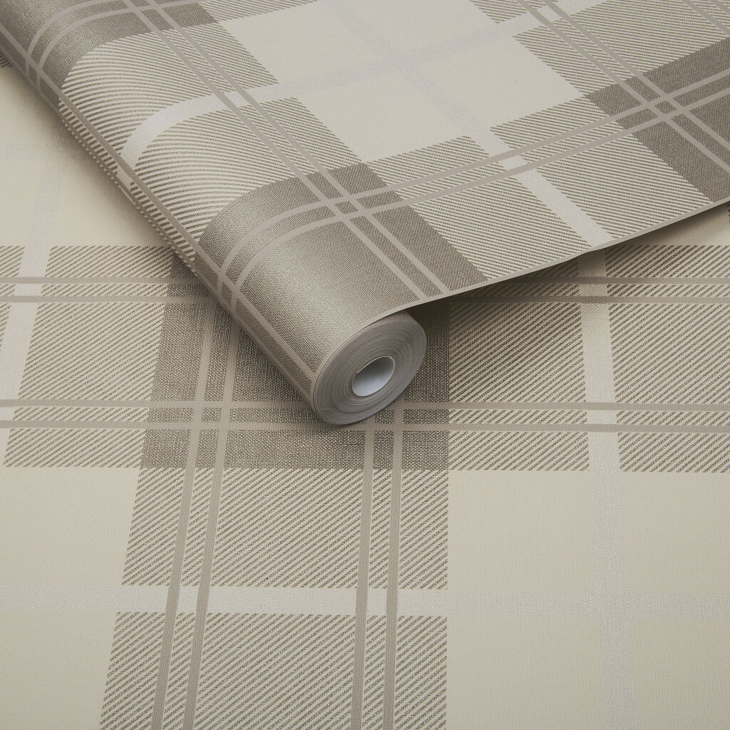 Tartan Natural Wallpaper, , large