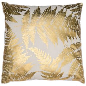 Tropical Leaves Gold Metallic Cushion, , large