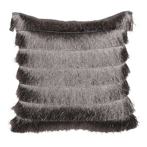 Gatsby Grey Fringed Cushion, , large