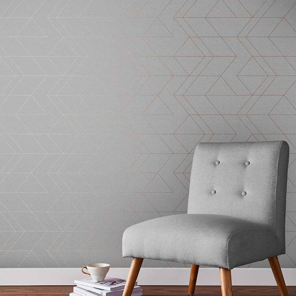 Balance Grey & Rose Gold Wallpaper, , large