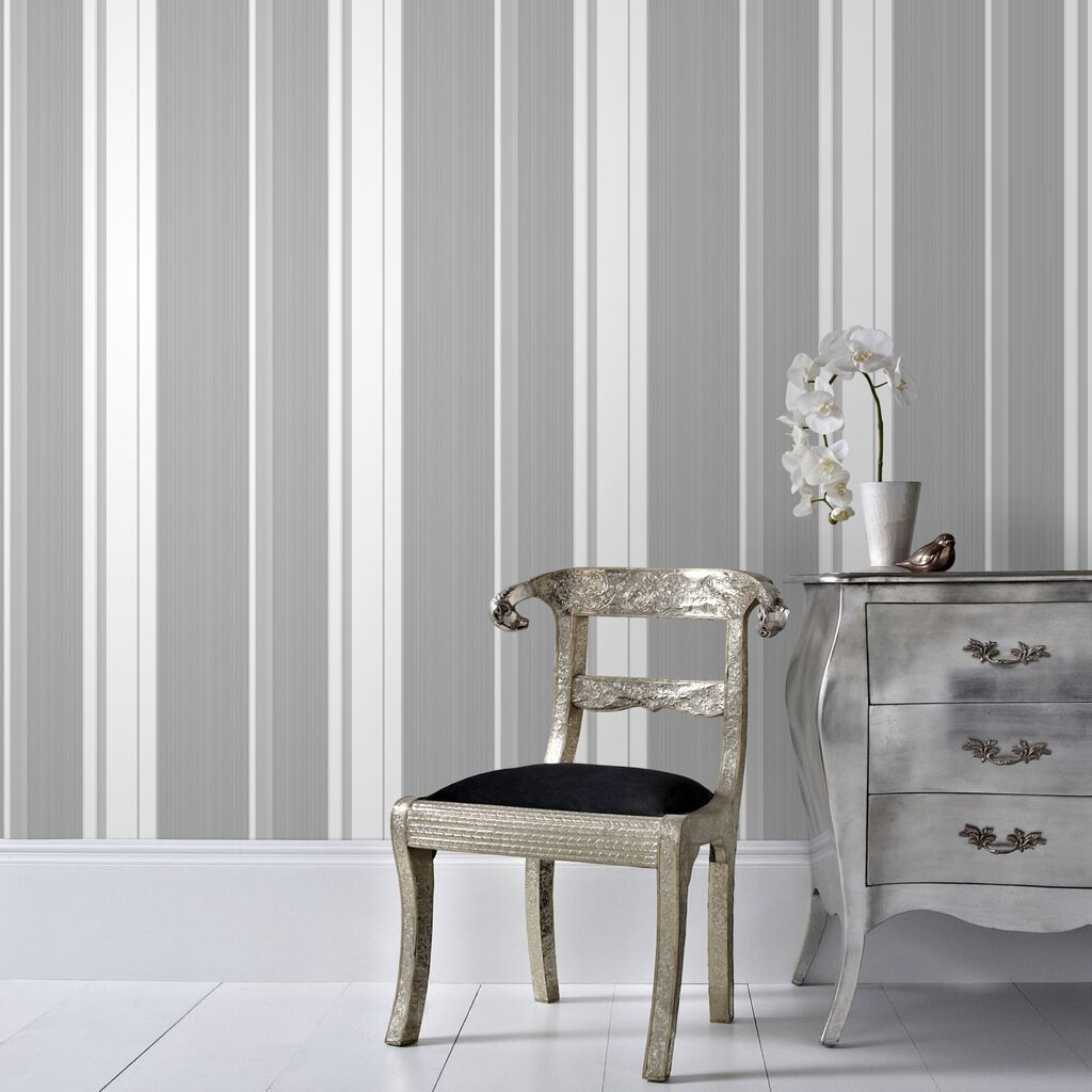 Gradient Stripe Silver Wallpaper, , large