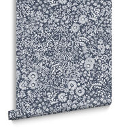 Olivia Embroidery Blue Wallpaper, , large