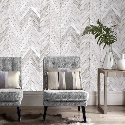 Tuck Grey Wallpaper, , large