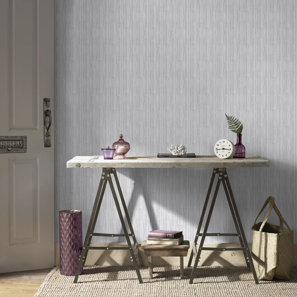 Light Grey Jute Wallpaper, , large