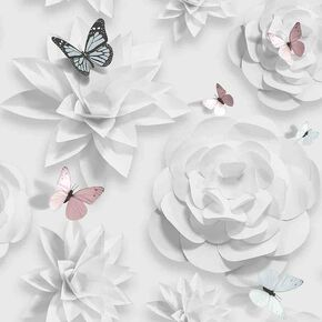 Origami Florals Wallpaper, , large