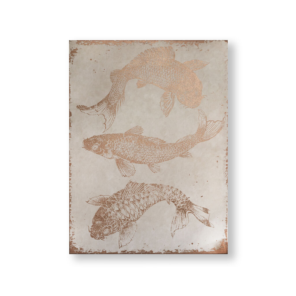 Rose Gold Koi Carp Canvas Wall Art, , large