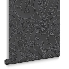 Saville Black Wallpaper, , large