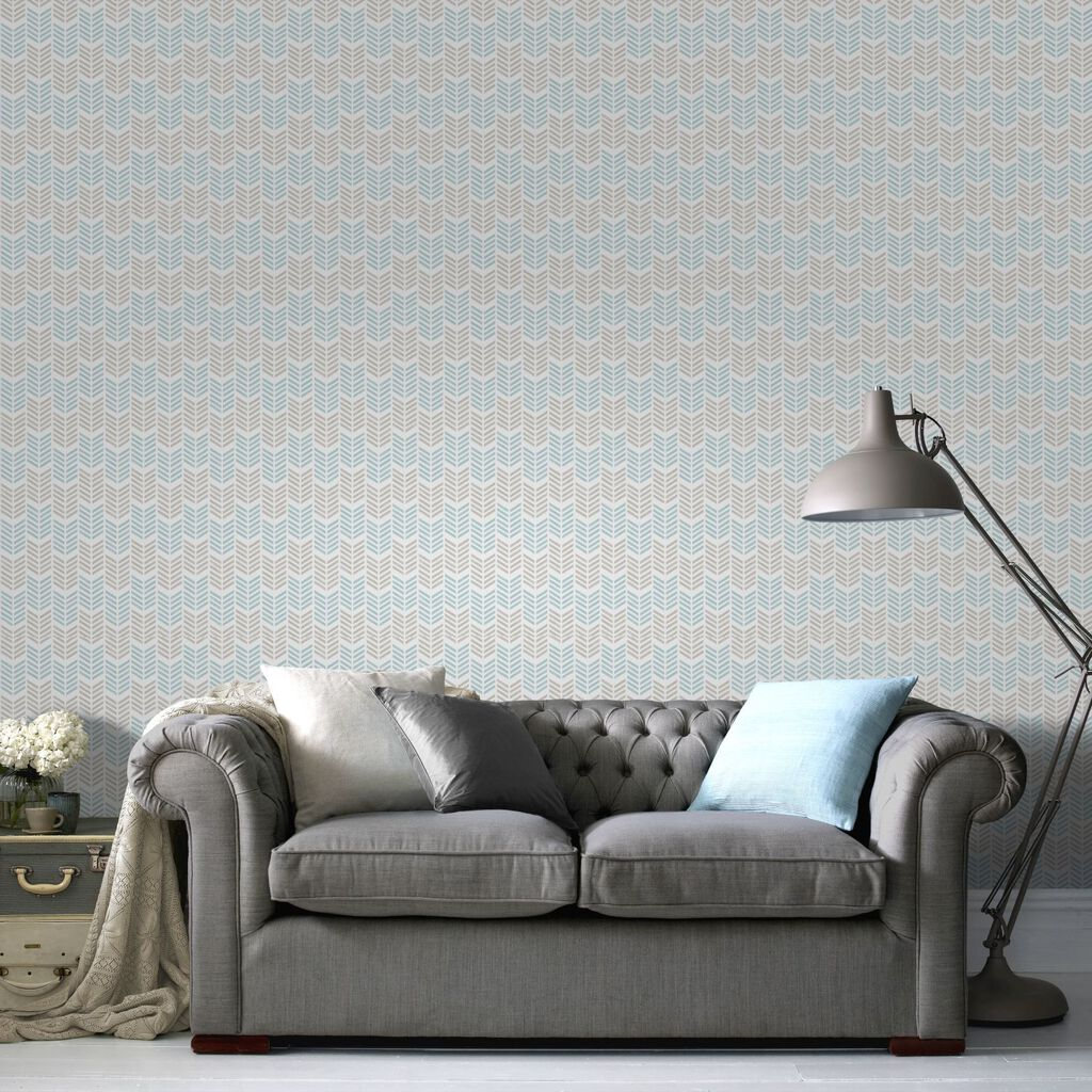 Oiti Taupe Bleu Wallpaper, , large