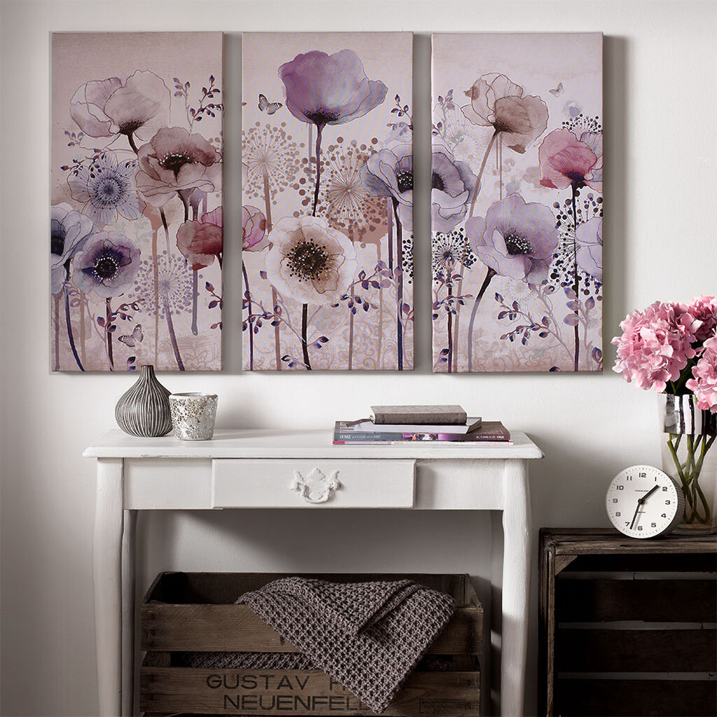 Classic Poppy Trio Printed Canvas Wall Art, , large