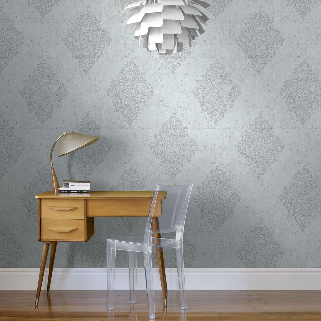 Pale Blue & Silver Cork Medallion Wallpaper, , large