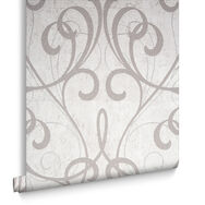 Cream & Pale Gold Cork Damask Wallpaper, , large