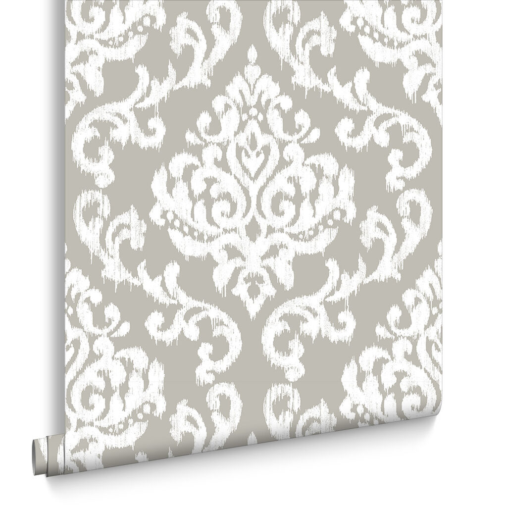 Indian Ink Damask Tapete Stone, , large