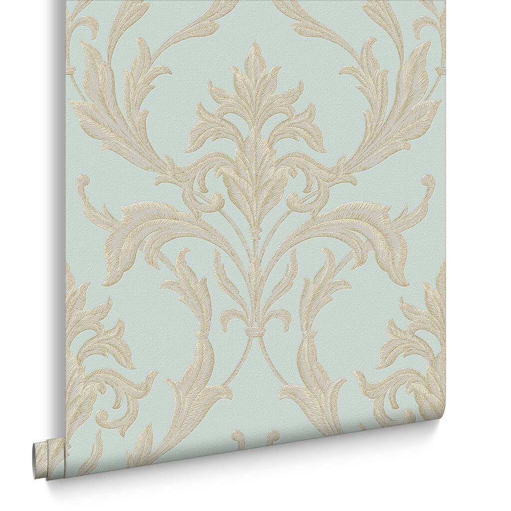 Oxford Teal and Gold Wallpaper, , large