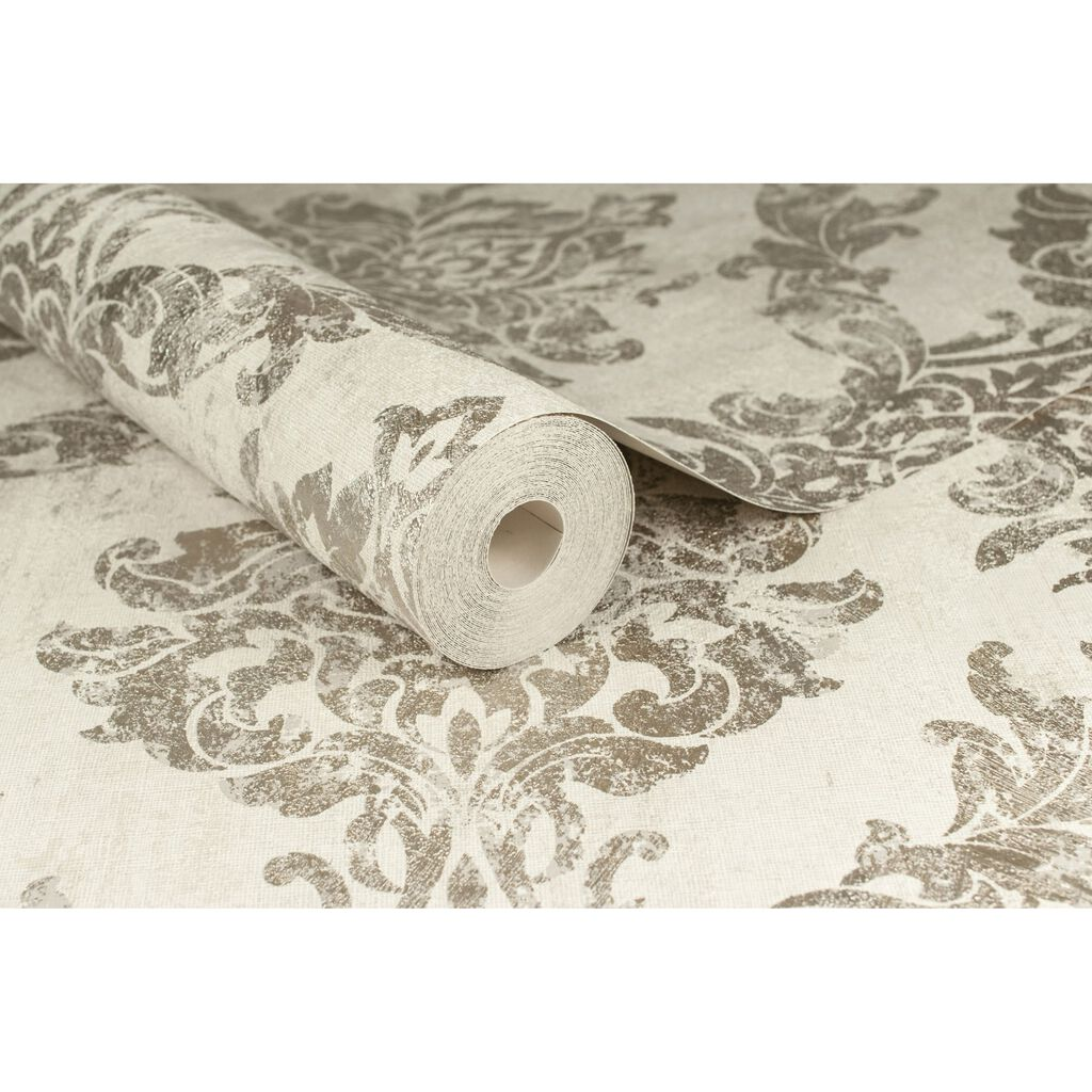 Opal Damask White and Gold Wallpaper, , large