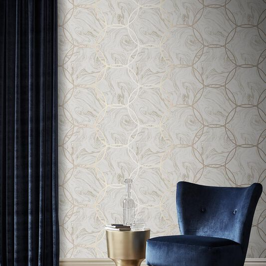 Aqueous Geo Taupe Wallpaper, , large