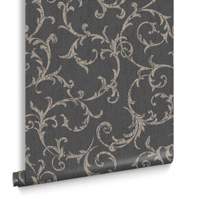 Empress Scroll Black & Gold Wallpaper, , large