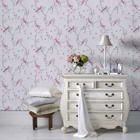 Songbird Lilac Wallpaper, , large